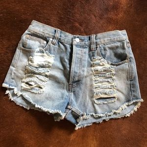 MinkPink thrasher high waist jean shorts